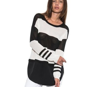 Womens Caden Long Sleeve Blouse Knit Silk Top White Black One Grey Day