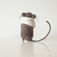 Gray mouse in white knitted scarf, domisticated little friend, playful and loving rodent pet handmade from organic wool