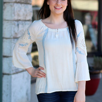 Flower Child Peasant Top {Ivory}