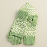 Mint Fairisle Glittens - World Market