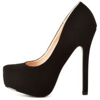Round Toe Hidden Platform Pumps by Charlotte Russe