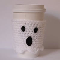 Ghost Coffee Cozy Crochet Halloween Cup Sleeve