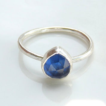 lab created sapphire ring  sterling silver ring  blue by Leoben