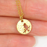 Bird Necklace - Tiny Bird on Branch Silhouette Hammered Gold Circle Pendant Charm Simple Modern Jewelry with 18 Inch Gold Chain Jewelry
