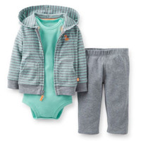Carters Newborn 3 6 9 12 Months Fox Cardigan Pants Set Baby Boy Clothes Outfit