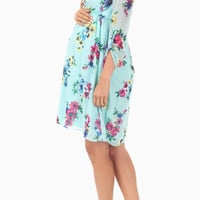 Light Blue Floral Print 3/4 Sleeve Maternity Dress