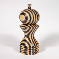 """6"""" black and white pepper mill"""
