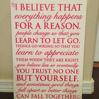 "Wood Sign Quote 12""x16"" - ""Everything Happens"" Marilyn Monroe"