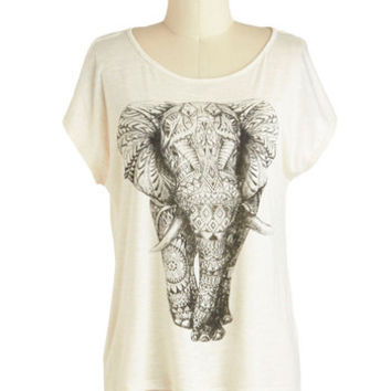 ModCloth 90s Mid-length Short Sleeves Wildly Imaginative Top