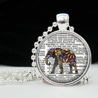 Flower Elephant Freedom Button Pendant Art Pendant by 4Tdesigns