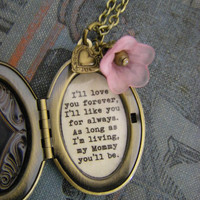 I'll love you forever I'll like you for always Mommy locket pink flower heart oval bronze locket gift for her for mom