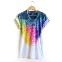 """The Original """"Splash Dyed"""" Hand PAINTED Scoop Neck Pinned Rolled Cuffs Tee in White Spectrum Rainbow - S M L XL 2XL 3XL"""
