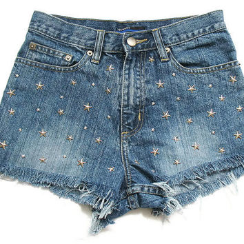 Stars studded high waist jean shorts XS by deathdiscolovesyou