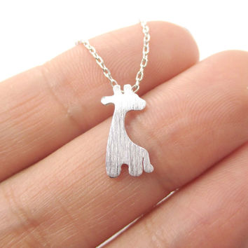 Simple Giraffe Silhouette Shaped Pendant Necklace in Silver | Animal Jewelry