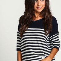 Navy Classic Striped Boxy Sweater - LoveCulture