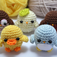 amigurumi birds crochet pattern set - instant download