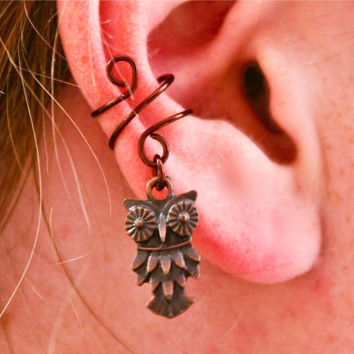 Antiqued Owl Ear Cuff by BarbedLotusDesigns on Etsy