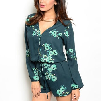 Minty and Green Floral Romper