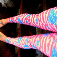 Old Glory Distressed American flag Leggings pants lycra