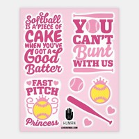 Softball Girls Sticker Sheet