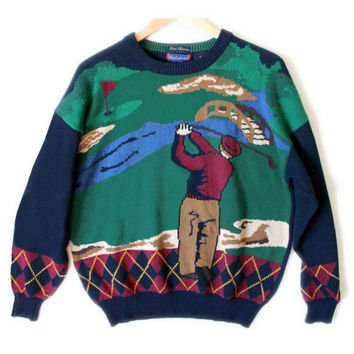Hathaway Argyle Trim Mens Tacky Ugly Golf Sweater