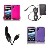 Motorola Atrix 4G (AT&T) Premium Combo Pack - 2 Hard Rubberized Cover Cases (Hot Pink, Purple) + FREE Atom LED Keychain Light + Wall Charger + Car Charger