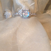 Solitaire Engagement Ring Rainbow Moonstone Solitaire in White Topaz Halo Setting