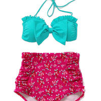 Mint Bow Top and Flora High Waisted Waist Shorts Bottom Swimsuit Swimwear Bikini Bathing suit Woman Womens Lady Adult Female Girl Girls S M