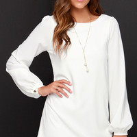 Perfect Situation Ivory Long Sleeve Shift Dress