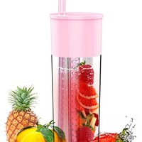 Idealist 24oz Fruit Infuser Tumbler with Straw, Pink
