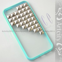 Studded iPhone 5 Case  Antique Silver Pyramid Studs by TheArtCity