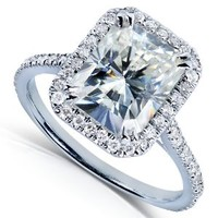 3ct DEW Radiant-cut Moissanite and Diamond Engagement Ring in 14k White Gold - Size 8
