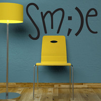 """Wall Decal Quote Text Vinyl Sticker Home Decor  Art Mural """" SMILE  """" 16.5"""" x 31.5"""""""