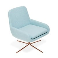 Softline Sky Blue Swivel Square Chair