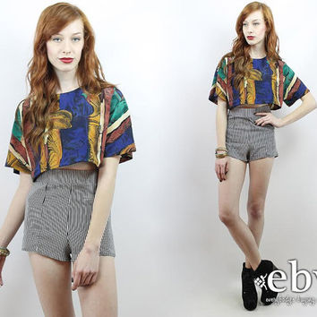 Vintage 90s Baroque Print Crop Top S M L Cropped Top Midriff Top Cropped Shirt Cropped Blouse Festival Crop Top Hippie Top Hippy Top
