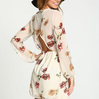 TAUPE SILKY FLORAL WRAP DRESS