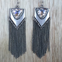 Desert Fringe & Crystal Earrings - Silver