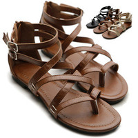 ollio Womens Gladiator Sandals Buckle Ankle Strap Thong Shoes Multi Colored