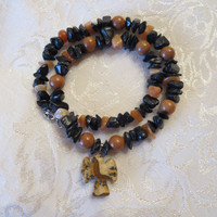 Earthy Nugget Beaded Semi-precious Angel Pendant Necklace Black Onyx, Red Jasper, Red Aventurine Nuggets