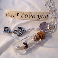 Message In A Bottle Necklace - P.S. I Love You, Skeleton Key, Swarovski, Silver Chain, Free Shipping in USA, BUY Any 2 Get 1 Free