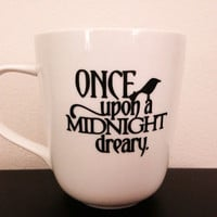 Edgar Allan Poe inspired coffee mug. The Raven inspired coffee mug