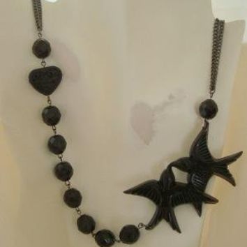 MELAINA Black Vintage Swallow Bird and Glass Bead by lovechrissa