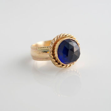 Faceted Sapphire Ring, Rose Cut Gemstone, Gemstone Ring, Stacking Ring, Gold Filled Ring