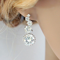 Luxe - Wedding Jewelry, Bridal Earrings, Bridesmaid earrings, Cubic Zirconia Ear Posts with Clear White Large Cubic Zirconia Crystal