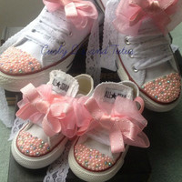 "Mommy and Me ""Bling"" high/low top converse in your choice of color, stone & ribbon shoelace to match."