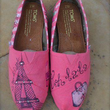 Paris Theme Custom TOMS Shoes  ADULT by ArtisticSoles on Etsy