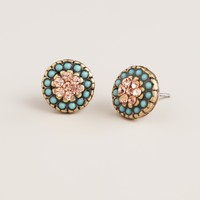 Gold and Mint Round Stud Earrings - World Market