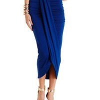 Sodalite Blue Ruched Asymmetrical Wrap Skirt by Charlotte Russe
