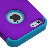 For Apple iPhone 5 Rubber IMPACT TUFF HYBRID Case Skin Phone Cover Purple Teal