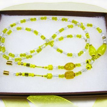 Beaded Eyewear Necklace, Hand Crafted, Yellow Beads with Gold Accents